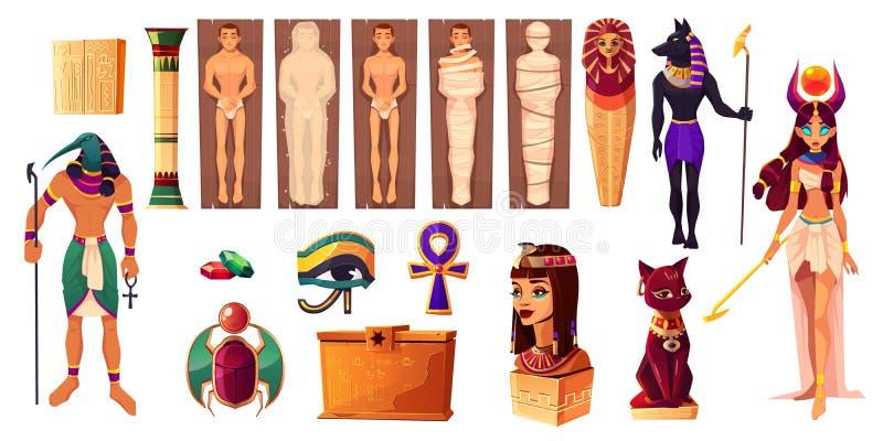Египетские боги Thoth и Hathor Старые атрибуты иллюстрация штока