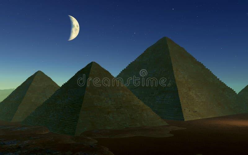 египетские пирамидки ночи иллюстрация вектора