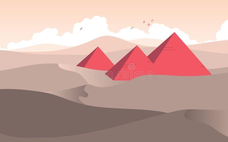 Египетские пирамиды среди пустыни с ландшафтом облака и неба иллюстрация вектора