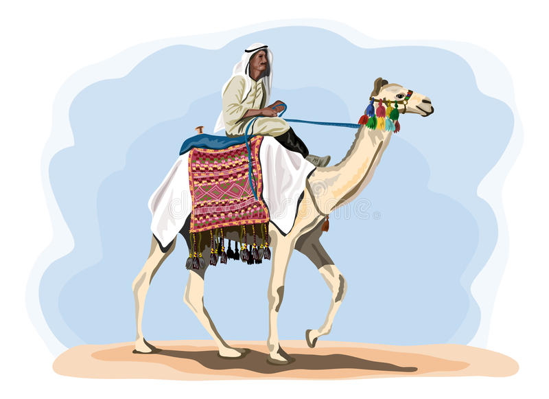Египетский всадник верблюда в традиционном костюме иллюстрация штока