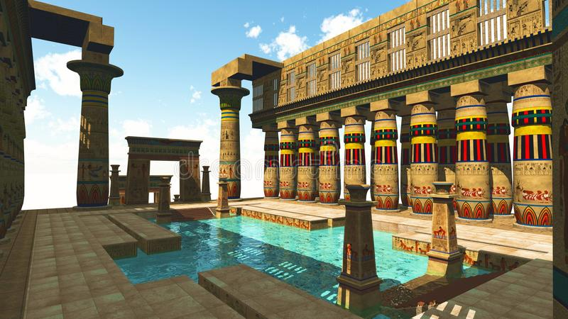 Египетский плавательный бассеин иллюстрация вектора
