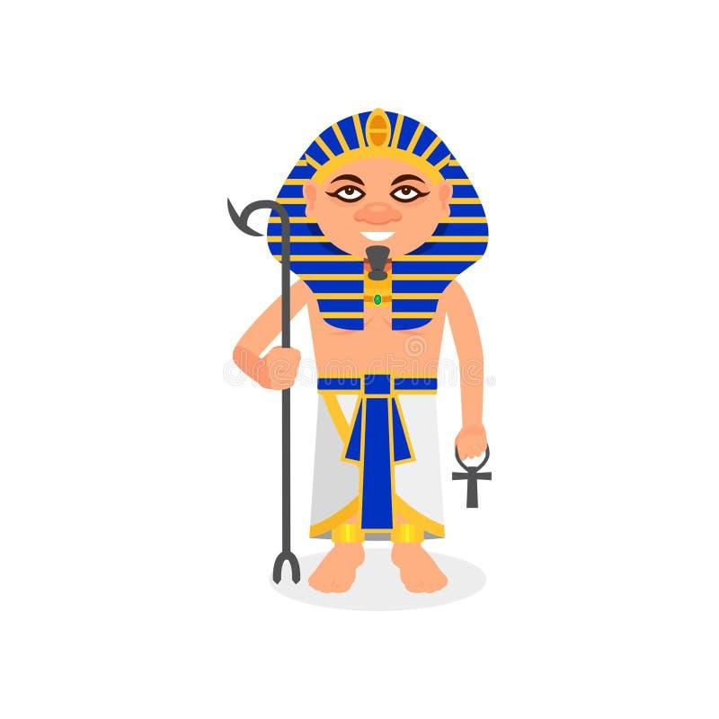 Египетский фараон с крестом скипетра и ankh Правитель древнего египета Человек в традиционных одеждах и головном уборе плоско иллюстрация штока