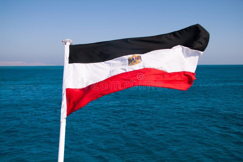 Египетский флаг плавая в Солнце с Красным Морем на заднем плане стоковое изображение rf