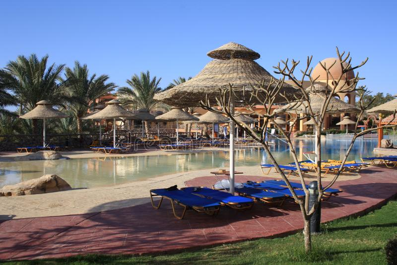Египет Красивая гостиница бассеин стоковое изображение rf