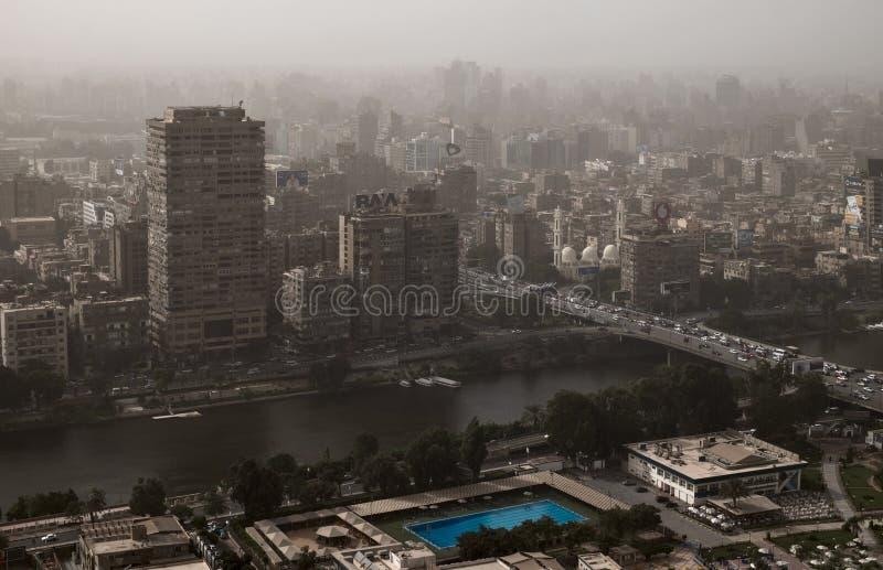 Египет Плотный смог над Каиром стоковая фотография rf