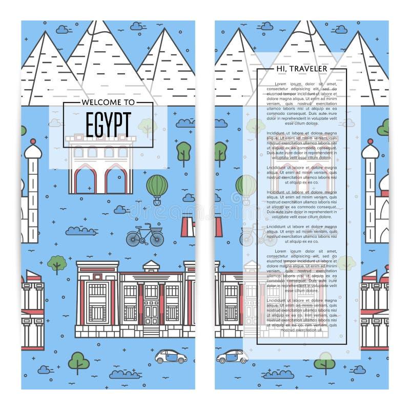 Египет путешествуя рогульки установленные в линейный стиль бесплатная иллюстрация