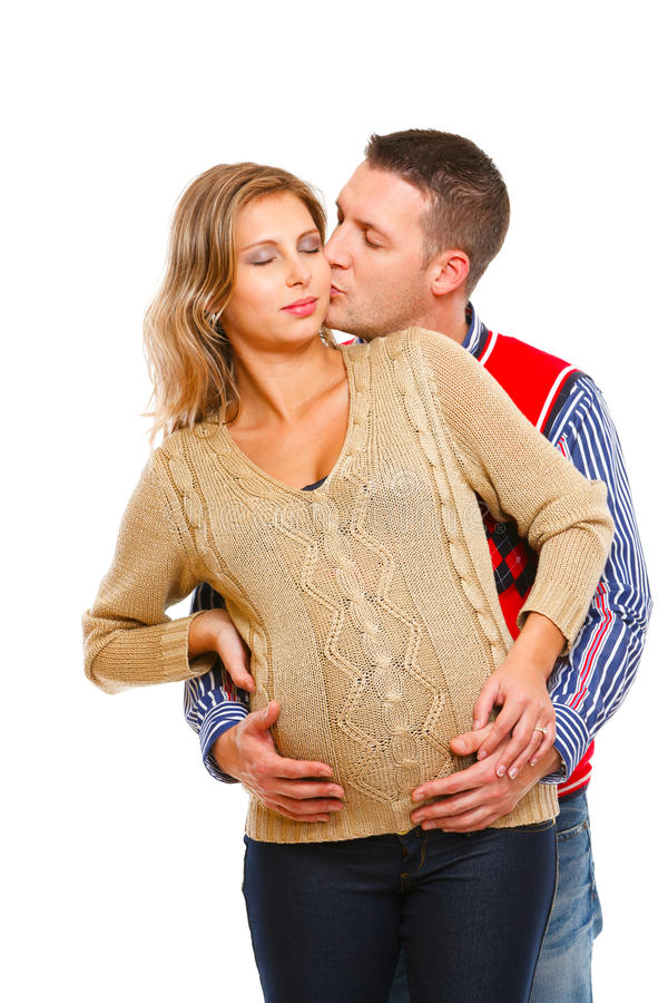 его детеныши супруги супруга целуя супоросые стоковое изображение