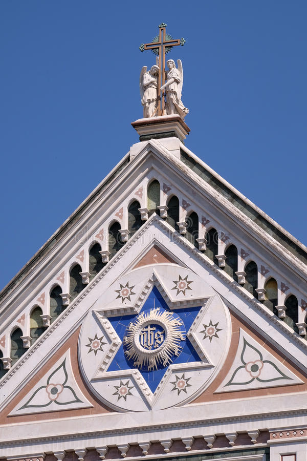 ЕГО знак, di Santa Croce базилики - известная францисканская церковь в Флоренсе стоковое изображение rf