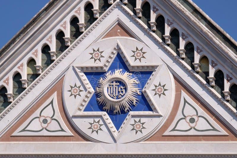 ЕГО знак, di Santa Croce базилики - известная францисканская церковь в Флоренсе стоковое фото