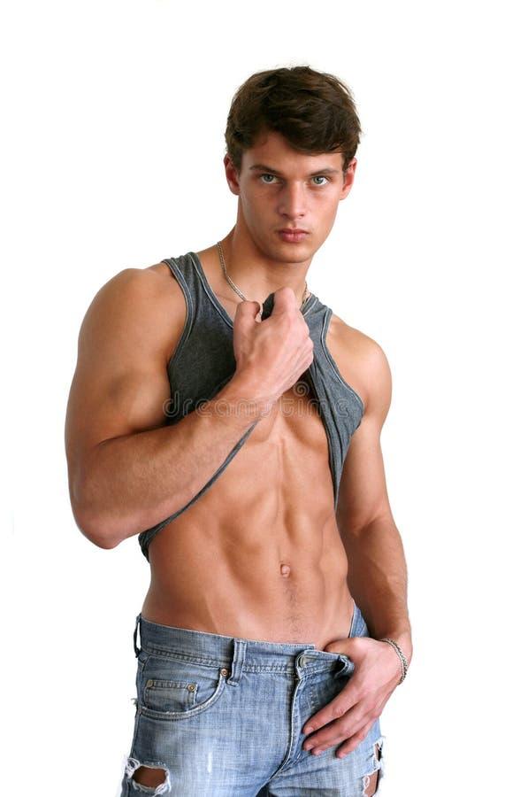 его изолированный человек пакует сексуальную белизну показа 6 стоковое фото