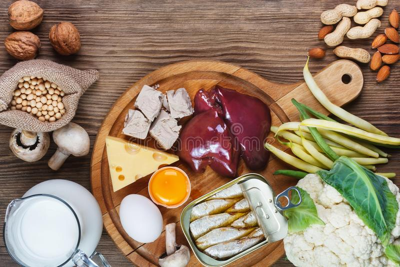 Еда богатая в биотине стоковое фото rf