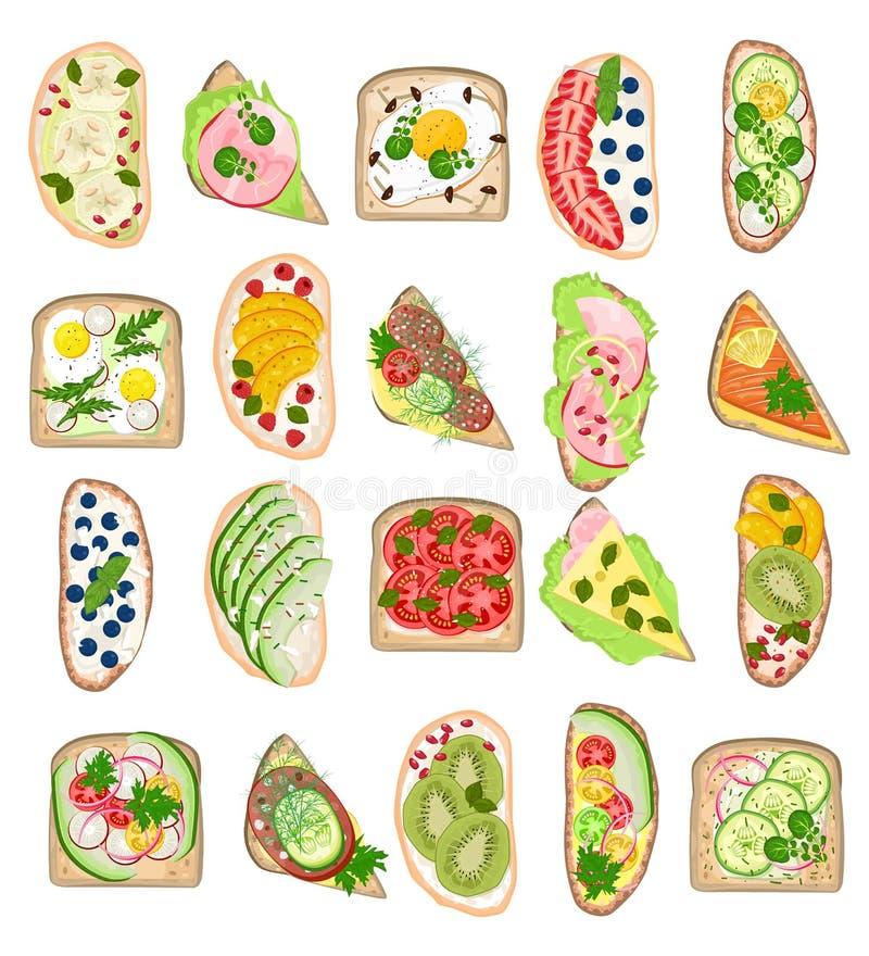 Еда вектора здравицы здоровая провозглашанная тост с закуской яичка овощей сыра хлеба для комплекта иллюстрации завтрака очень вк иллюстрация вектора