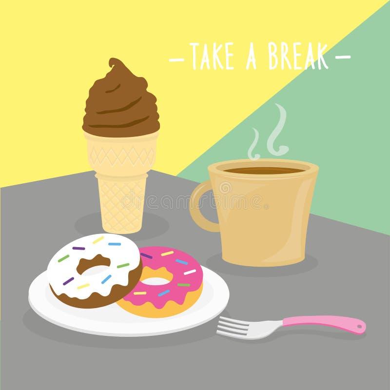 Еда еды принимает кашевара молокозавода пролома ест вектор ресторана меню питья иллюстрация штока