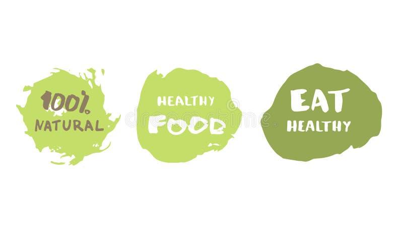 Еда 100% естественная, здоровая и ест здоровой значки нарисованные рукой также вектор иллюстрации притяжки corel иллюстрация штока