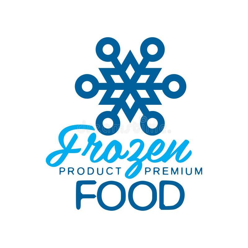 Еда замороженного продукта наградная, ярлык для замерзать с иллюстрацией вектора знака снежинки иллюстрация штока