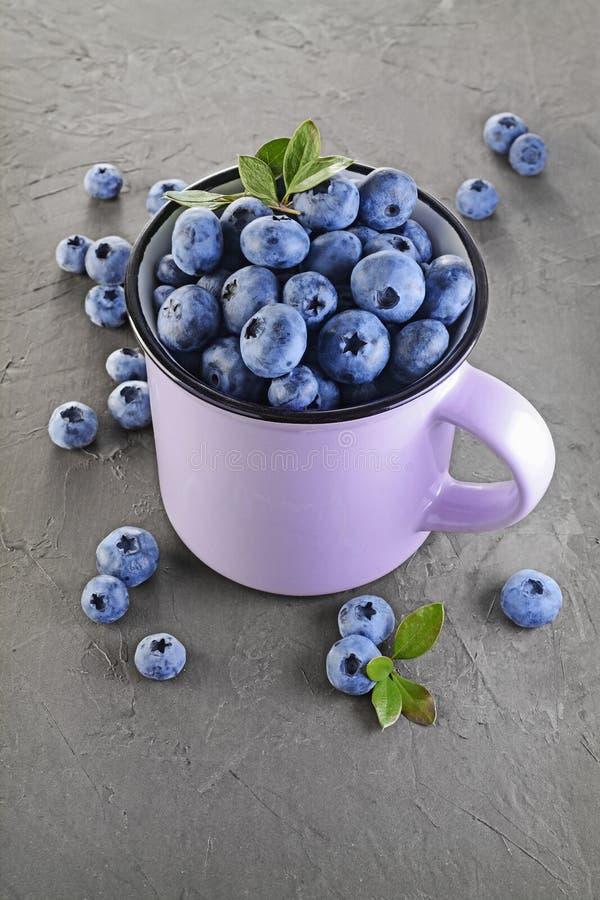 еда здоровая Закройте вверх по голубике взгляда свежей зрелой в фиолетовой кружке стоковая фотография