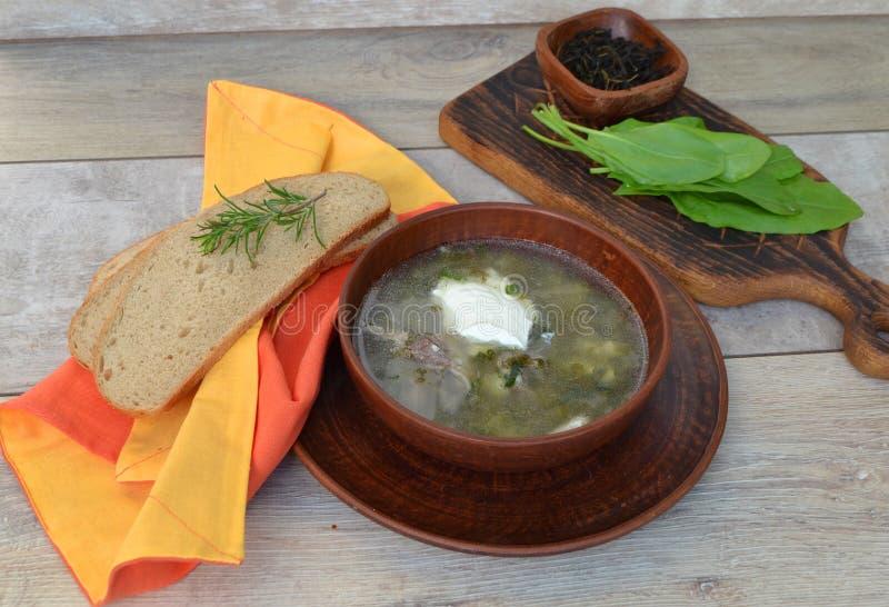Еда здорового питания: суп щавеля с мясом в деревенском шаре, вареным яйцом цыпленка, выходит на деревянный стол стоковое изображение rf