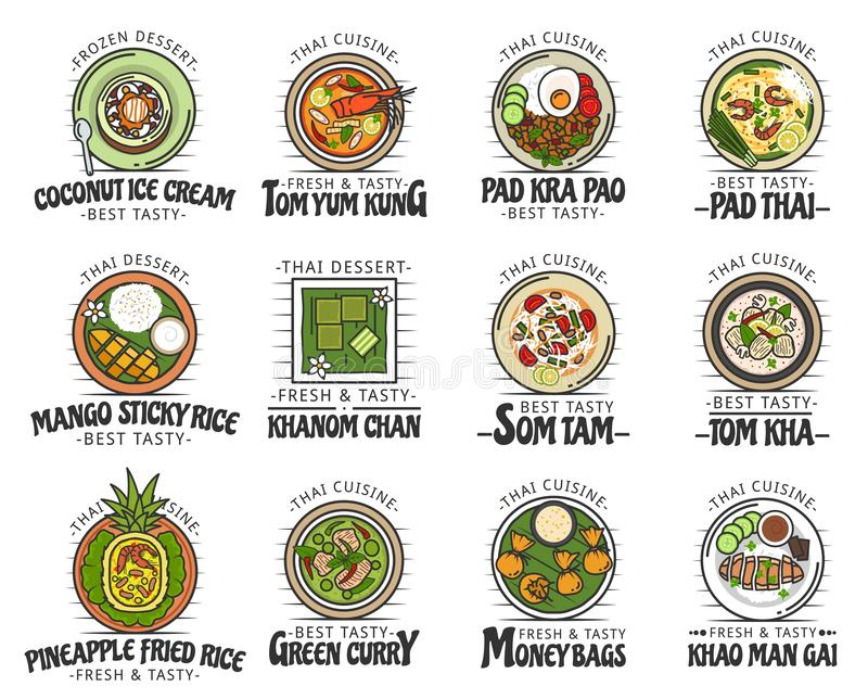 Еда и десерты тайской кухни, азиатские блюда иллюстрация штока