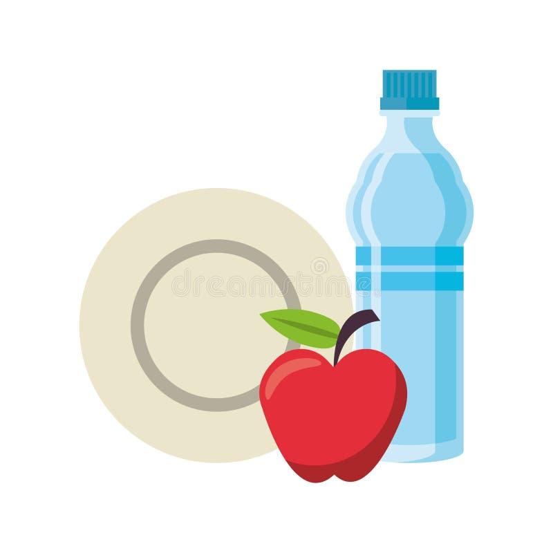 Еда и здоровые символы жизни иллюстрация вектора
