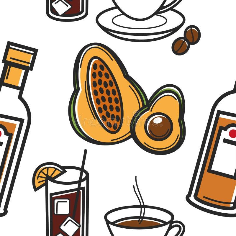 Еда и перемещение напитка к символам безшовной картины Кубы кубинським иллюстрация штока