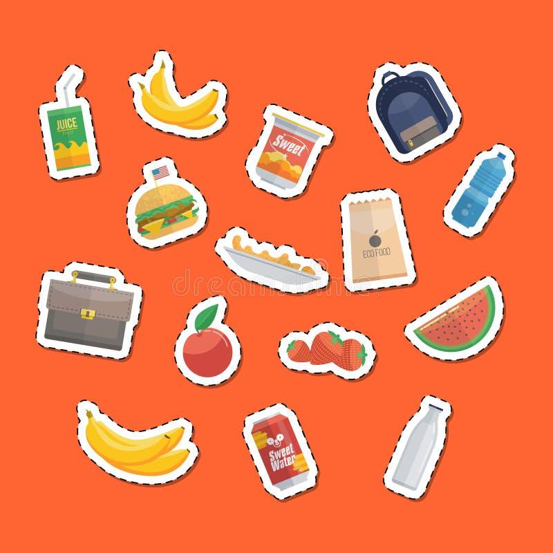 Еда и сумки выреза иллюстрация штока