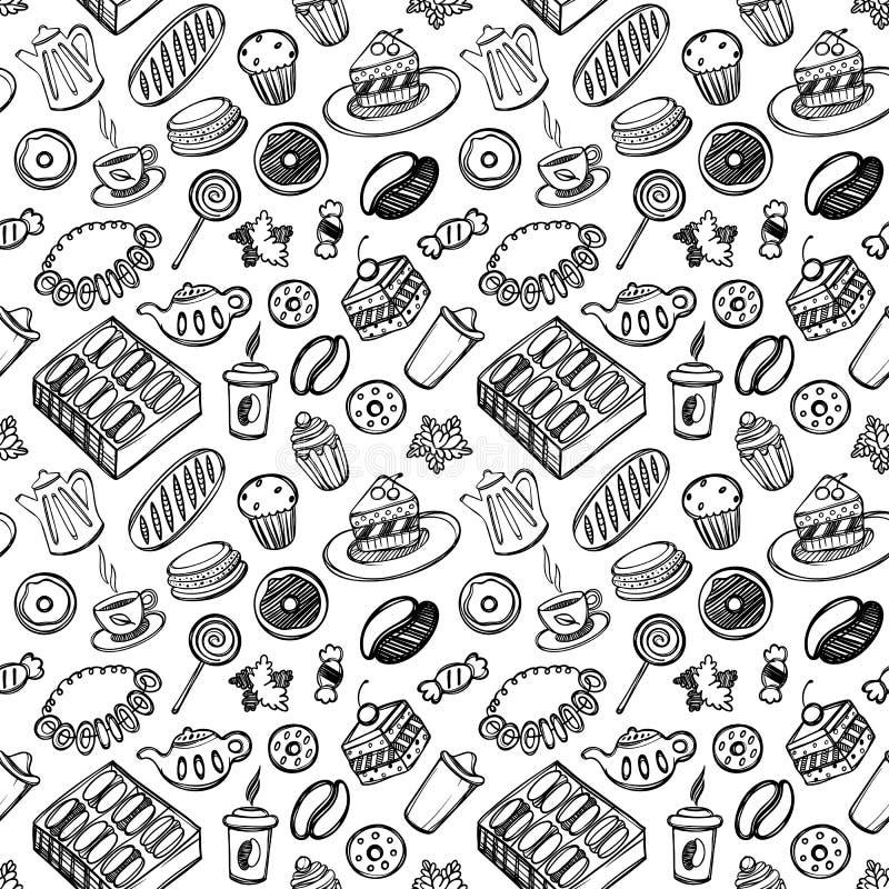 Еда и kitchenware шаржа милая на белой предпосылке картина безшовная Линейная иллюстрация Для книги zentangle иллюстрация вектора
