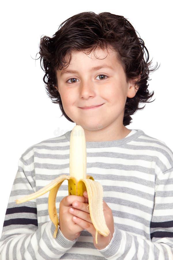 еда красивейшего ребенка банана стоковое фото rf