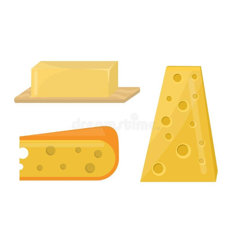 Еда молокозавода значка обедающего итальянца разнообразия свежего сыра плоская и изолированная еда гауда деликатеса части камамбе иллюстрация штока