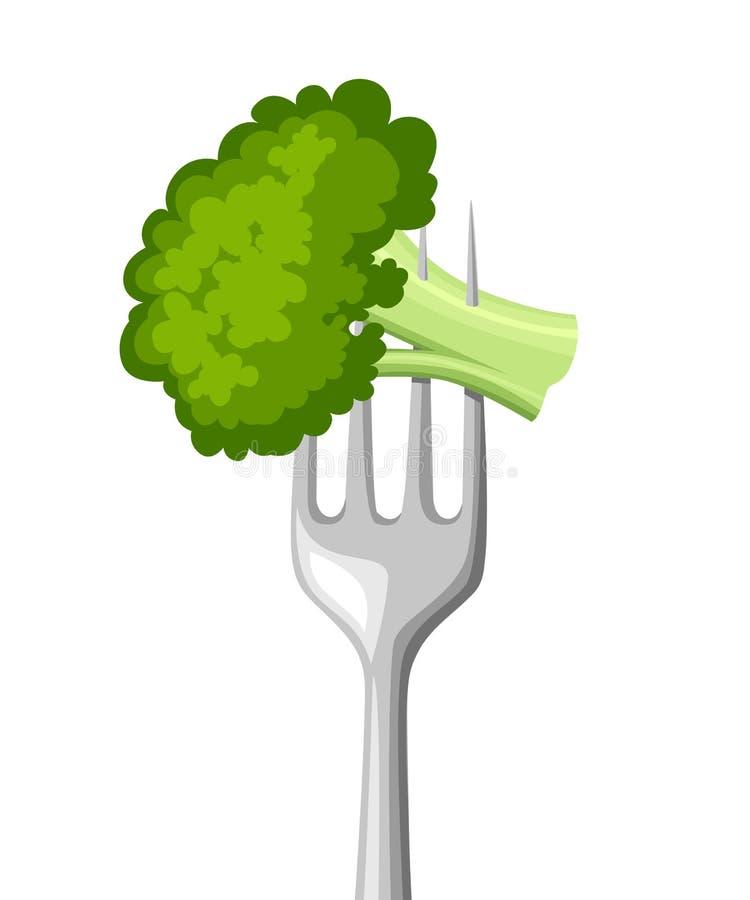 Еда на вилке Свежий брокколи на вилке нержавеющей стали белизна студии макроса здоровья еды хлопьев мозоли предпосылки Плоская ил иллюстрация вектора