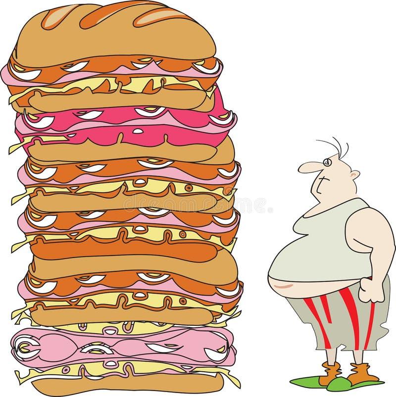 Еда на идет, перед ТВ и нашим здоровьем иллюстрация штока