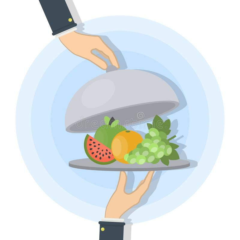 Еда на подносе иллюстрация вектора