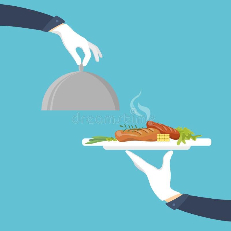 Еда на подносе иллюстрация штока