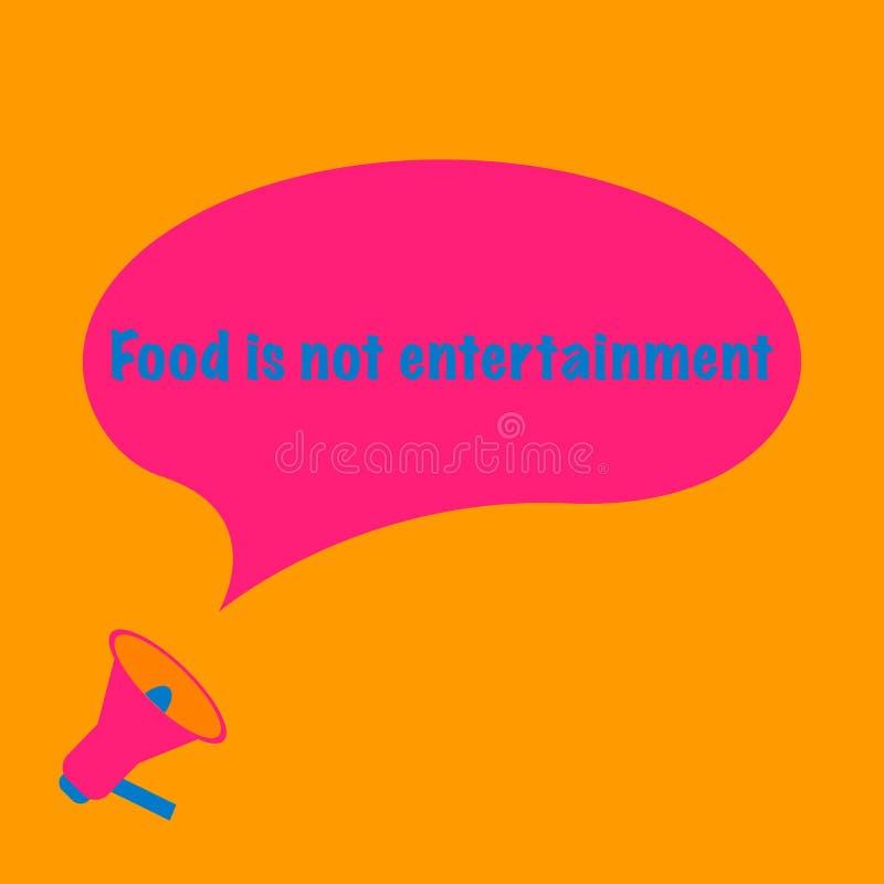 Еда нет текста развлечений в большом розовом пузыре сообщения от мегафона оранжевая предпосылка иллюстрация вектора