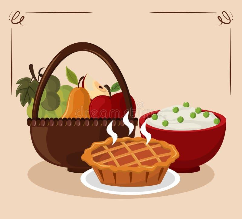 Еда официальный праздник в США в память первых колонистов Массачусетса иллюстрация штока