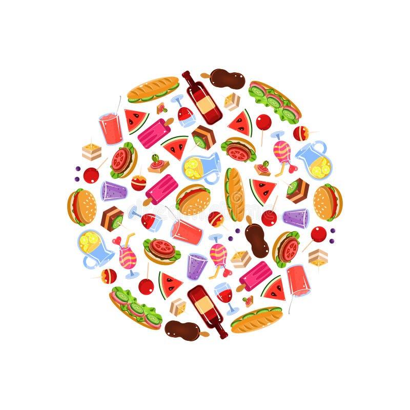 Еда пикника в круглой форме, лете, закусках пикника весны романтичных и иллюстрации вектора овощей бесплатная иллюстрация