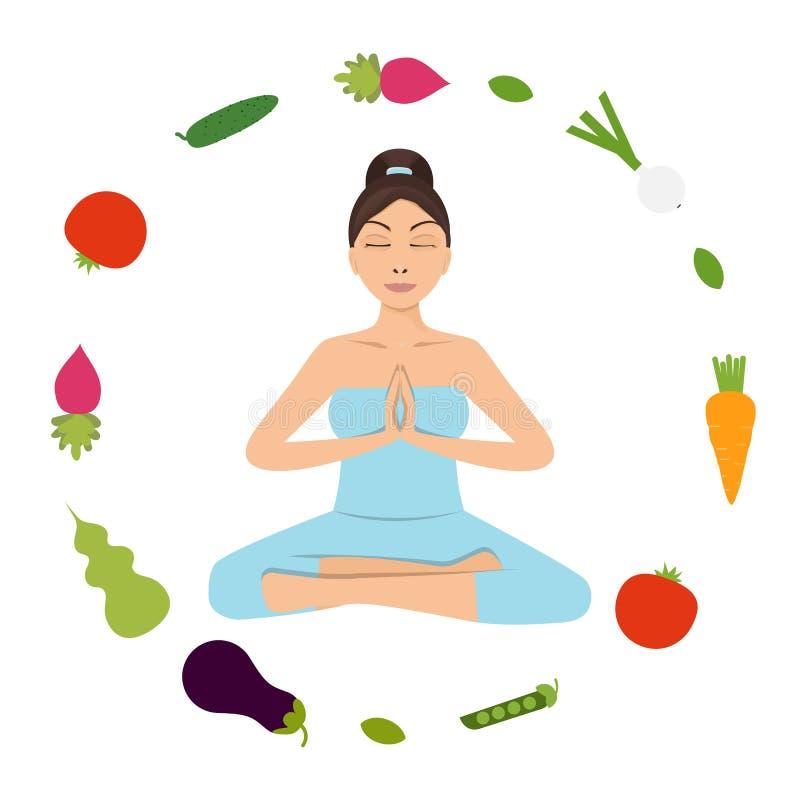 еда принципиальной схемы здоровая Представление йоги женщины иллюстрация вектора