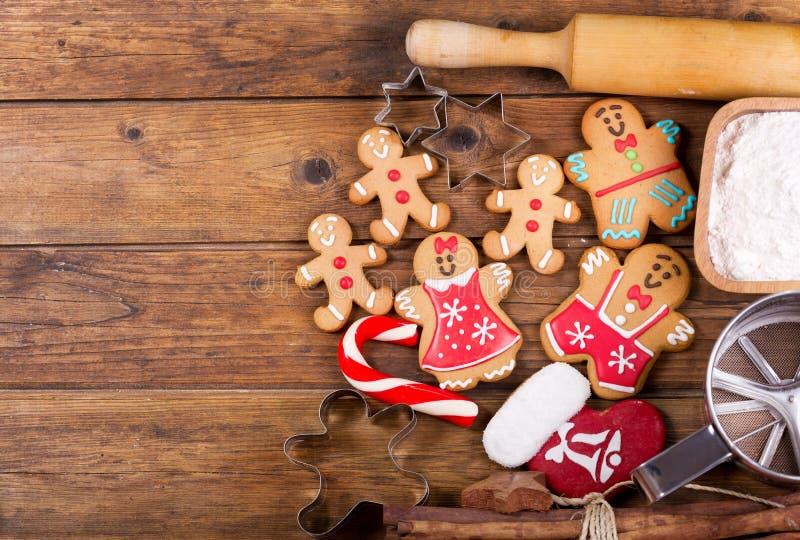Еда рождества Ингридиенты для варить выпечку рождества, верхнюю часть VI стоковые изображения rf