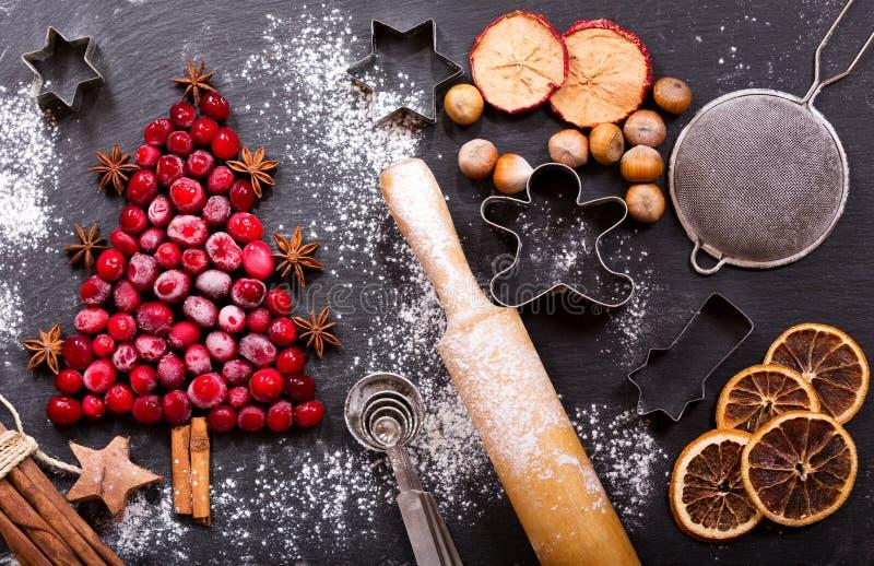Еда рождества Ингридиенты для варить выпечку рождества, верхнюю часть VI стоковые фото