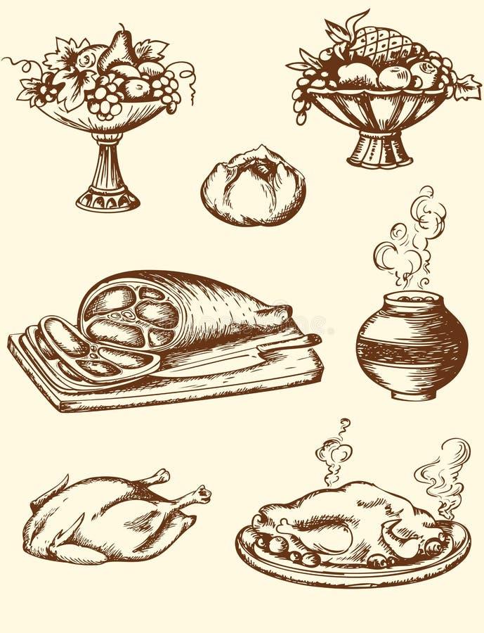 Еда сбора винограда иллюстрация штока