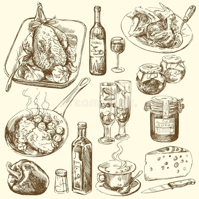 еда собрания иллюстрация штока