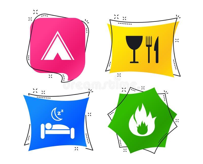 Еда, сон, располагаясь лагерем шатер и знаки огня вектор иллюстрация вектора