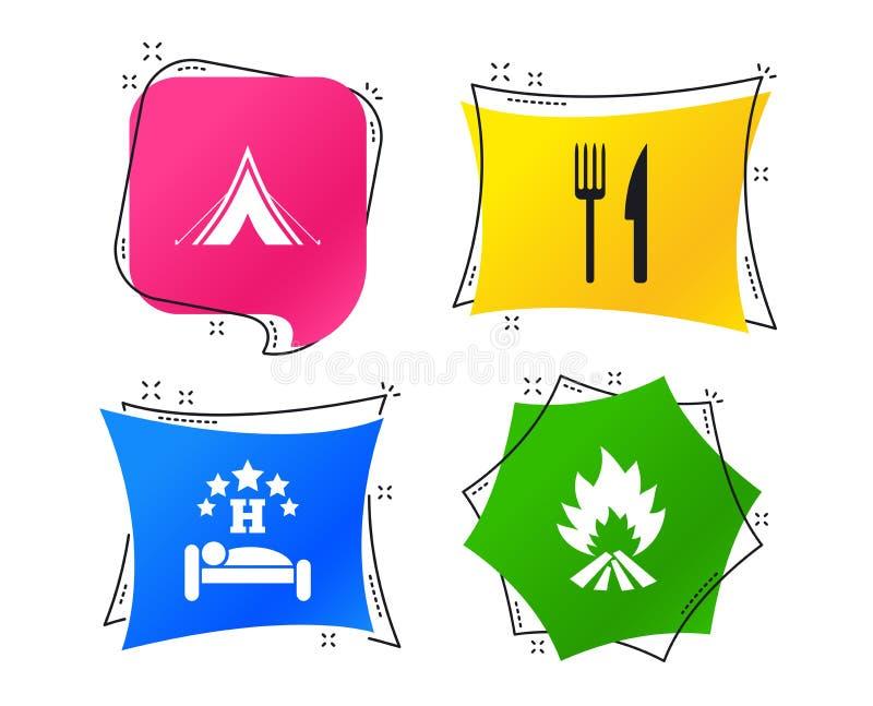 Еда, сон, располагаясь лагерем шатер и знаки огня вектор иллюстрация штока
