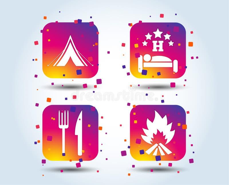 Еда, сон, располагаясь лагерем шатер и знаки огня иллюстрация штока