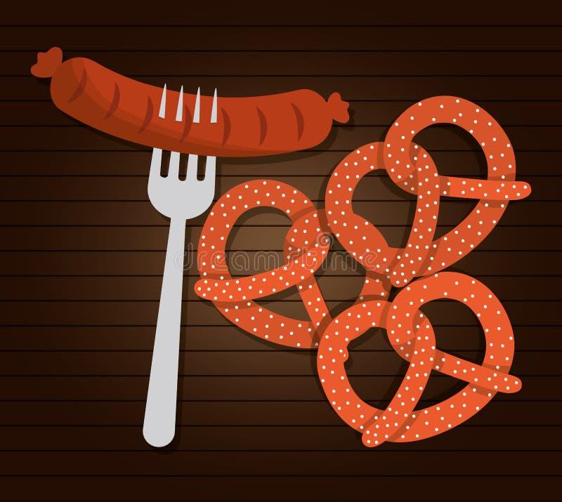 Еда сосиски Германия по мере того как вектор свирли предпосылки декоративный графический стилизованный развевает иллюстрация вектора