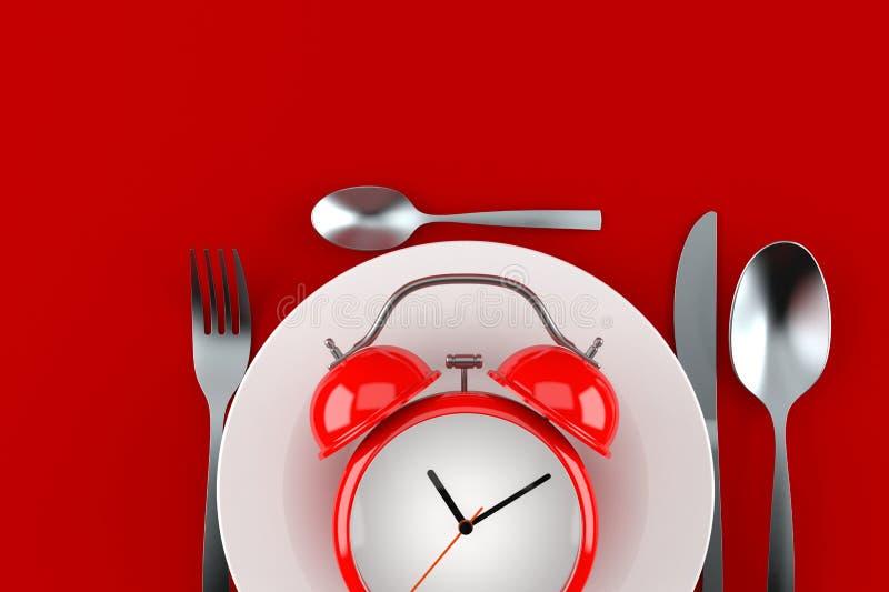 Еда с будильником иллюстрация вектора