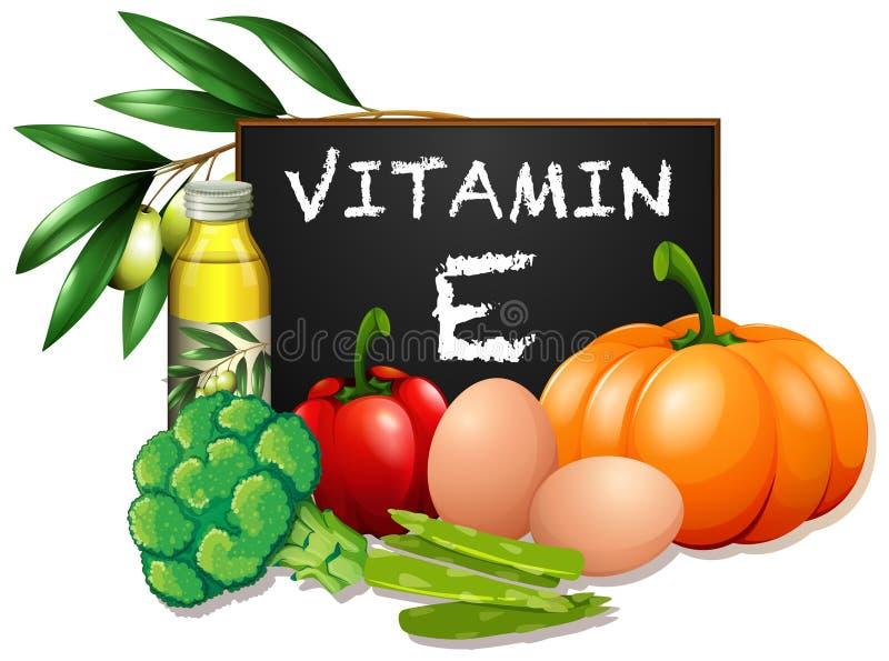 Еда с витамином e иллюстрация штока