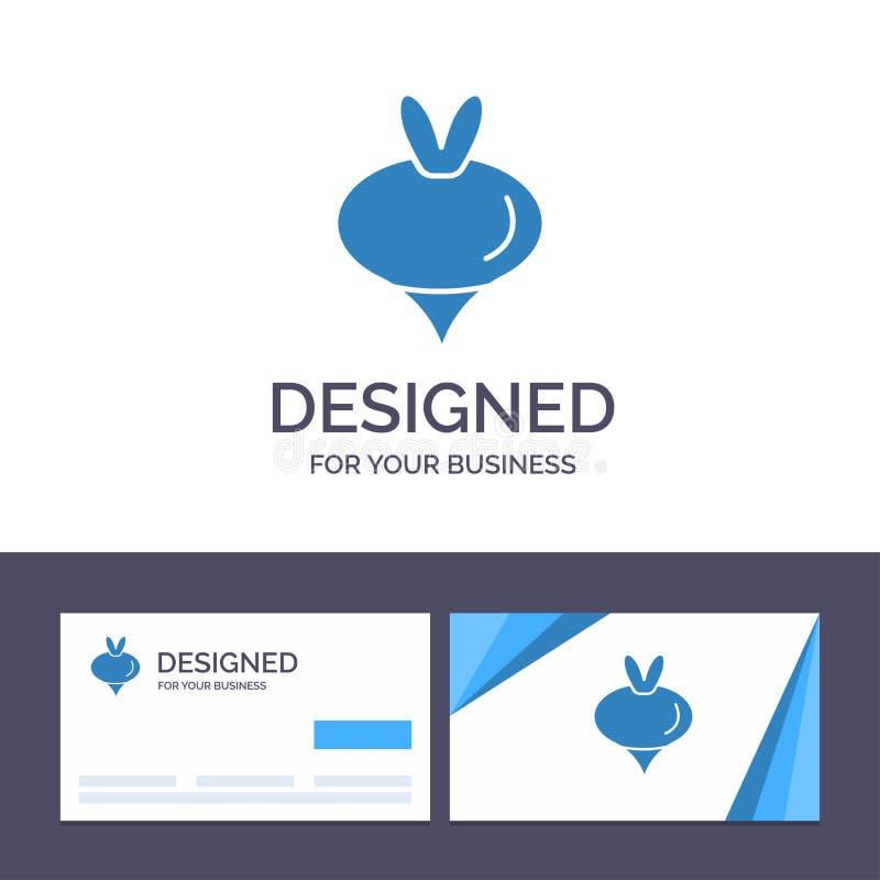 Еда творческого шаблона визитной карточки и логотипа, турнепс, овощ, иллюстрация вектора весны иллюстрация штока