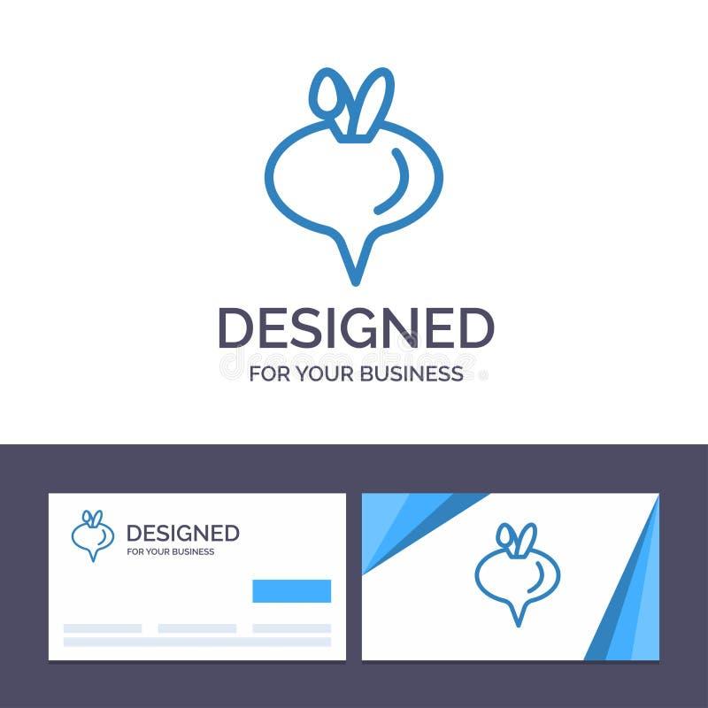 Еда творческого шаблона визитной карточки и логотипа, турнепс, иллюстрация вектора овоща иллюстрация штока