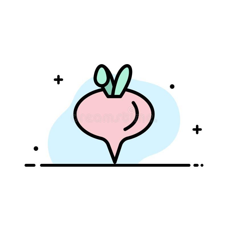 Еда, турнепс, линия дела овоща плоская заполнила шаблон знамени вектора значка иллюстрация штока
