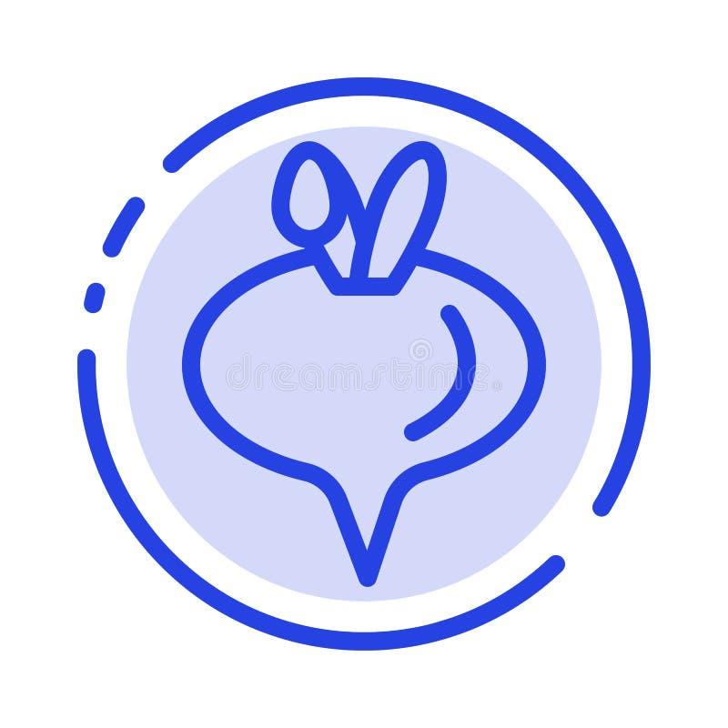 Еда, турнепс, линия значок голубой пунктирной линии овоща иллюстрация штока